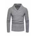 Stylish Mens Winter Chic Shawl Collar Long Sleeve Solid Color Gray Pullover Sweater