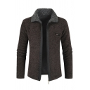 Mens Cool Coffee Lapel Collar Long Sleeve Zip Placket Casual Thick Knitwear Cardigan