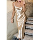 Womens Cool Metallic Plain Cowl Neck Tied Open Back Midi Cami Dress for Night Club