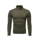 Mens Unique Shredded Detail Long Sleeve High Collar Slim Fit Classic Pullover Sweater