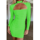 Womens Sexy Plain Cutout Front Mock Neck Long Sleeve  Mini Bodycon Dress for Club