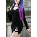 Gothic Black PU Buckle Embellished Cold Shoulder Long Sleeve Mini Tight Dress for Nightclub