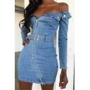 Womens Stylish Plain Off Shoulder Irregular Zip Placket Long Sleeve Mini Fitted Denim Dress with Belt