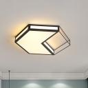 Black/Grey Hexagon/Square Flush Light Modern Acrylic Led Ceiling Flushmount in Third Gear