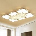 Acrylic Rectangle Flush Mount Ceiling Light Modern White Led Indoor Lighting with Crystal Ball, 23.5