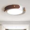 Nordic Style Round Ceiling Lamp Metal White/Brown Flush Mount Light with Diffuser, 16