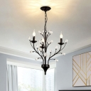 Candle Living Room Pendant Chandelier Traditional Metal 3/6/9 Lights Black Hanging Fixture with Crystal Deco