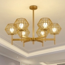 Iron Cage Chandelier Pendant Traditional 6/8-Head Gold Ceiling Light Fixture, 31.5