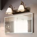 White/Bronze 2/3/4 Lights Sconce Light Classic Opal Glass Flower Vanity Lighting Fixture