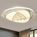 White Triangle Flush Ceiling Light Modern 16.5