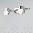 Clear Crystal Dome Vanity Wall Light Modernist Style 3 Lights Chrome Finish Wall Sconce, 12.5