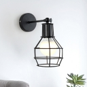 Wire Cage Wall Mount Lamp Farmhouse Style Metallic 1 Light Angel Adjustable Black Wall Lighting