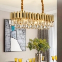 Triangle Crystal Gold Hanging Light Kit Oval 12 Heads Traditional Chandelier Lighting