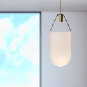 Modern Water Bucket Pendant Lamp White Glass 1 Head 6