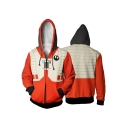 Star Wars Darth Vader Cosplay Costume Long Sleeve Zip Up Orange Hoodie
