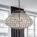 Crystal Beaded Urn Pendant Lamp Height Adjustable 3 Lights Rustic Hanging Light for Bedroom