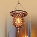 Antique Copper Urn Pendant Light Single Light Metal Bohemia Suspension Light for Foyer