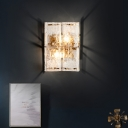 Rectangle Wall Sconce Light with Clear Water Glass Shade Modernist 2 Lights Wall Mount Light in Gold for Bedroom