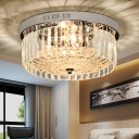 Drum Flush Mount Lamp Modernist Crystal 5 Lights Bedroom Flush-Mount Light Fixture in Chrome Finish