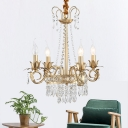 Brass Finish Curved Arm Ceiling Chandelier with Candle Accent Contemporary Crystal 4/6 Bulbs Ceiling Pendant Light
