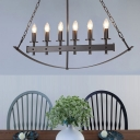 Black Candle Island Lamp Vintage Metal 6 Lights Dining Room Suspension Light