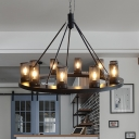 Cylinder Dining Room Hanging Light Kit Traditional Metal 10 Lights Black Ceiling Chandelier