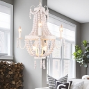 Transitional Beaded Basket Chandelier Light 6/9-Head White Wood Hanging Ceiling Pendant