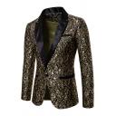 Mens Vintage Floral Pattern Long Sleeve Notch Lapel Single Button Tuxedo Jacket Blazer