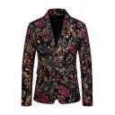 Men's Colorful Floral Paisley Printed Long Sleeve Slit Back Double Buttons Black Suit Blazer
