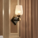 Head Indoor Wall Mounted Lamp Modernist Brass Wall Lighting with Cup Clear Textured Glass Shade