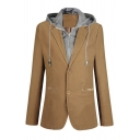 Mens Designer Color Block Patched Hood Button Down Long Sleeve Fake Two Piece Blazer Coat