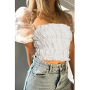 Plain Cute Puff Sleeve Square Neck Pleated Mesh Slim Fit Crop Blouse Top for Women