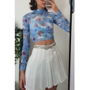 Fancy Women's Long Sleeve Mock Neck Butterfly Print Slim Fit Crop T-Shirt in Blue