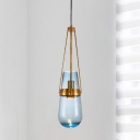 Postmodern Tapered Pendant Lamp Blue/Clear Glass 1 Head Dining Room Hanging Ceiling Light