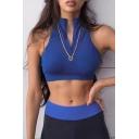 Blue Sport Girls' Sleeveless Band Collar Zip Front Fitted Crop Tank Top