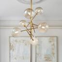 Globe Bedroom Hanging Lamp Kit Cognac Glass 6/8 Light Contemporary Chandelier Light