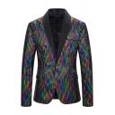 Mens Unique Colorful Paillette Embellished Single Button Contrast Shawl Collar Nightclub Blazer