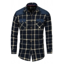 Mens Simple Plaid Print Denim Patched Chest Pocket Long Sleeves Button Down Streetwear Shirt