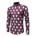 Mens Trendy Colorblocked Argyle Printed Long Sleeve Slim Fit Button Up Shirt