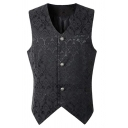 Trendy Medieval Costume Plain Floral Pattern Sleeveless Button Down Slim Fitted Suit Waistcoat