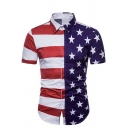 Chic American Flag Stripe Star 3D Print Short Sleeve Button Up Red and Blue Shirt