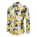 Mens Casual Lemon Print Long Sleeves Button Up Fitted Holiday Shirt