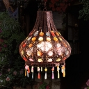 Bohemia Teardrop Ceiling Pendant Light Metal 1 Bulb Hanging Lamp with Decorative Gem in Weathered Copper