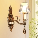 1/2-Head Conic Sconce Light Vintage Wall Light Fixture with Clear Acrylic Shade and Carved Arm in Gold