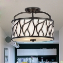 Iron Black Semi Flushmount Round 4-Light Contemporary Ceiling Flush Mount Lamp with Branch Pattern