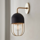 1 Bulb Wall Light Sconce Contemporary Oblong Metallic Wall Lighting Ideas in Gold