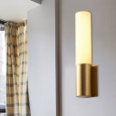 Cylinder Surface Wall Sconce Simplicity Metal and Acrylic 1 Bulb Gold Indoor Wall Lighting