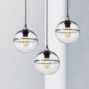 Sphere Pendant Ceiling Light Modern Blue/Clear Glass 8