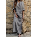 Women's Simple Short Sleeve V-Neck Striped Pocket Linen Maxi Oversize Dress in Grey