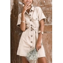 Casual Khaki Short Sleeve Lapel Collar Tied Waist Button Down Pocket Short A-Line Shirt Dress for Ladies